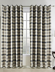 One Pair  Traditional Jacquard Polyester Plaid Room Darkening Curtain