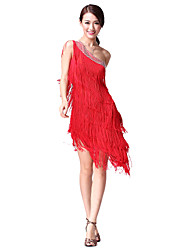 cheap -Latin Dance Dresses Women's Performance Cotton Polyester Crystals/Rhinestones Tassel Sleeveless Natural Dress