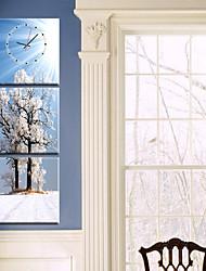 moderne stil naturskønne vægur i canvas 3stk k0141