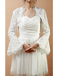 Wedding  Wraps Coats/Jackets Long Sleeve Lace As Picture Shown Wedding / Party/Evening Bell Sleeves Open Front