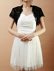 Wedding  Wraps Shrugs Short Sleeve Lace As Picture Shown Wedding / Party/Evening Open Front