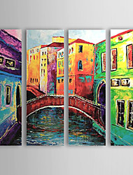 cheap -Oil Painting Hand Painted - Landscape Canvas Four Panels