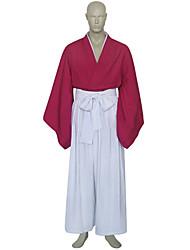 Недорогие -Вдохновлен RurouniKenshin Himura Kenshin Аниме Косплэй костюмы Косплей Костюмы Кимоно Пэчворк Длинный рукав Хакама штаны кимоно Пальто