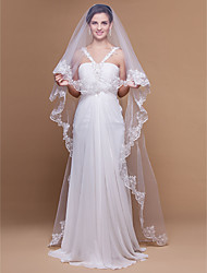 Wedding Veil One-tier Cathedral Veils Lace Applique Edge Scalloped Edge 106.3 in (270cm) Tulle White IvoryA-line, Ball Gown, Princess,