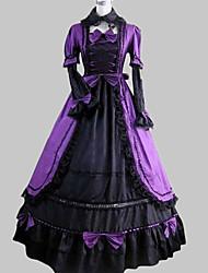 One-Piece/Dress Classic/Traditional Lolita Vintage Cosplay Lolita Dress Purple / Black Vintage Long Sleeve Floor-length Dress/Sleeves Aristocrat