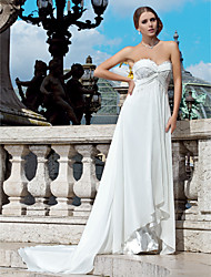 Sheath / Column Sweetheart Court Train Chiffon Wedding Dress with Beading Appliques Criss-Cross by LAN TING BRIDE®