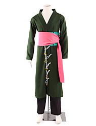 Inspireret af En del Roronoa Zoro Anime Cosplay Kostumer Cosplay Kostumer Kimono Patchwork LangærmetBukser Talje Tilbehør Bælte Kimono