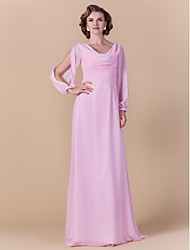 cheap -Sheath / Column Cowl Neck Floor Length Chiffon Mother of the Bride Dress with Criss Cross Ruching by LAN TING BRIDE®