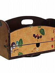 アンティークヨーロピアンスタイルのフルーツパターン回転可能な木製収納ボックス