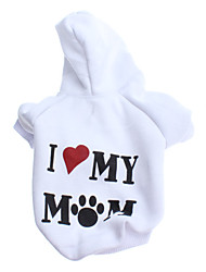 Dog Hoodie White Dog Clothes Winter Letter & Number