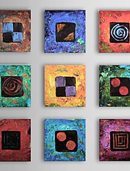 cheap -Hand-Painted Abstract Square, Modern Traditional Oil Painting Home Decoration More than Five Panels