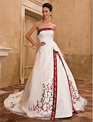 cheap -A-Line Princess Strapless Cathedral Train Organza Satin Wedding Dress with Embroidered Flower by LAN TING BRIDE®