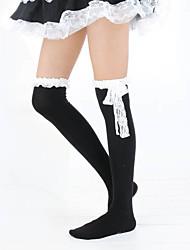 Thigh High Socks Socks / Long Stockings Classic Lolita Dress Lolita Lolita Women's Black White Lolita Accessories Lace Stockings Cotton