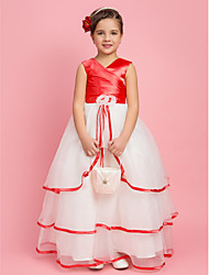 A-Line Floor Length Flower Girl Dress - Organza Stretch Satin Sleeveless V-neck with Flower by LAN TING BRIDE®