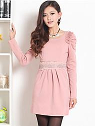 PRENAIR Lace Rhinestone Decor Pleats Puff Sleeve Dress (Flere farver)
