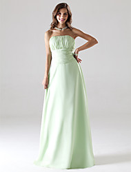 A-Line Princess Strapless Floor Length Chiffon Bridesmaid Dress with Draping Ruching by LAN TING BRIDE®
