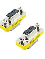 billiga -VGA 15pin hane till hona adapter (Silver & Gul, 2 st)