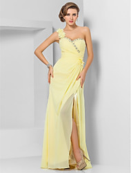 cheap -Sheath / Column One Shoulder Floor Length Chiffon Formal Evening Dress with Beading / Ruched by TS Couture®
