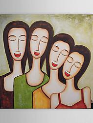 Pintados à mão Abstrato / Pessoas 1 Painel Tela Pintura a Óleo For Decoração para casa