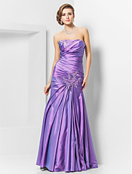 cheap -Mermaid / Trumpet Strapless Floor Length Taffeta Prom Dress with Beading by TS Couture®