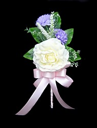 "Wedding Flowers Free-form Peonies Boutonnieres Wedding Party/ Evening Satin Cotton Ivory 3.94""(Approx.10cm)"