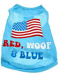 Cachorro Camiseta Roupas para Cães Bandeira Nacional American / EUA Ocasiões Especiais Para animais de estimação