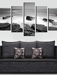 montagna moderno in orologio da parete nebbia in tela 5pcs