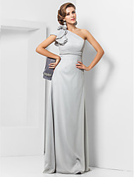 Sheath / Column One Shoulder Floor Length Chiffon Evening Dress with Flower by TS Couture®
