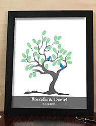 cheap -Personalized Fingerprint Painting Canvas Prints - Tree And Birds (Includes 6 Ink Colors And Frame)