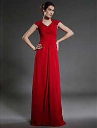 Sheath / Column V-neck Floor Length Chiffon Mother of the Bride Dress with Lace Criss Cross by LAN TING BRIDE®