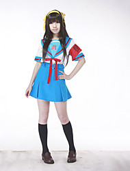 cheap -Inspired by Suzumiya Haruhi Haruhi Suzumiya Anime Cosplay Costumes Cosplay Suits School Uniforms Patchwork Short Sleeves Top Skirt Belt