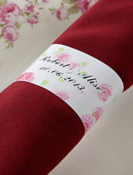 cheap -Personalized Paper Napkin Ring - Pink Rose (Set of 50) Wedding Reception