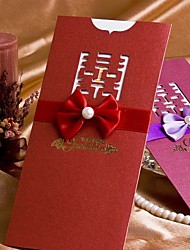 """Wrap & Pocket Wedding Invitations 50-Invitation Cards Classic Style Pearl Paper 8 ½""""×4"""" (20.8*10.3cm) Ribbons"""