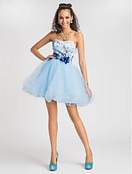 cheap -A-Line Strapless Sweetheart Short / Mini Satin Prom Dress with Beading by TS Couture®