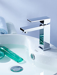 Contemporary Centerset Rotatable with  Ceramic Valve One Hole Single Handle One Hole for  Chrome , Bathroom Sink Faucet