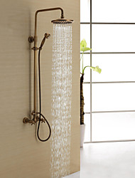 cheap -Antique Brass Shower Faucet with 8 inch Shower Head + Hand Shower