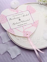 abordables -Coeur personnalisé en forme d'éventail à la main papier - coeurs roses (Set of 12)