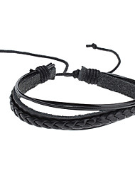cheap -Men's Chain Bracelet Leather Bracelet Unique Design Fashion Leather Others Jewelry Christmas Gifts Sports Costume Jewelry Black