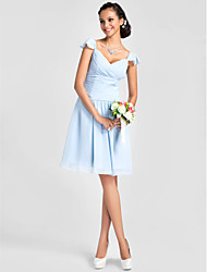 cheap -A-Line Princess V Neck Knee Length Chiffon Bridesmaid Dress with Beading Draping Ruched Criss Cross by LAN TING BRIDE®