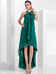 A-Line Princess Halter Knee Length Asymmetrical Chiffon Homecoming Formal Evening Dress with Beading Draping by TS Couture®