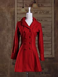 Недорогие -Длинные рукава красные шерстяные принцессы Лолита Пальто
