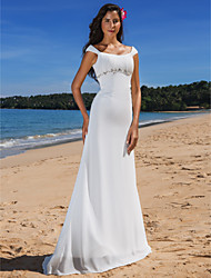 cheap -Sheath / Column Scoop Neck Sweep / Brush Train Chiffon Made-To-Measure Wedding Dresses with Beading / Draping / Button by LAN TING BRIDE®