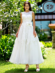 cheap -A-Line Jewel Neck Ankle Length Lace Made-To-Measure Wedding Dresses with Appliques by LAN TING BRIDE® / Little White Dress