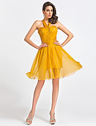 cheap -A-Line Princess Fit & Flare Sweetheart Straps Knee Length Chiffon Cocktail Party Dress with Criss Cross Ruching by TS Couture®