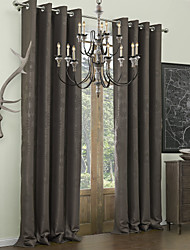 Rod Pocket Grommet Top Tab Top Double Pleat Two Panels Curtain Neoclassical , Embossed Polyester Material Blackout Curtains Drapes Home