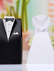 Card Paper Favor Holder With Bow Favor Boxes-12 Wedding Favors