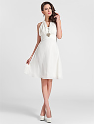 A-Line Princess Halter Knee Length Chiffon Bridesmaid Dress with Beading Draping Ruching Crystal Brooch by LAN TING BRIDE®