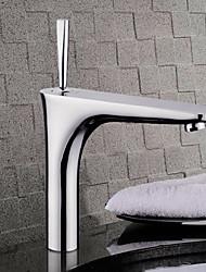 Недорогие -Современный Чаша Керамический клапан Одно отверстие Одной ручкой одно отверстие Хром, Ванная раковина кран