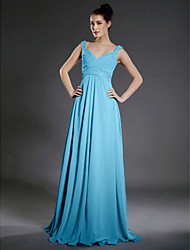 cheap -A-Line V Neck / Straps Floor Length Chiffon Bridesmaid Dress with Beading / Draping / Criss Cross by LAN TING BRIDE®