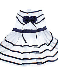 cheap -Dog Dress Dog Clothes Stripe / Bowknot White / Blue Terylene Costume For Pets Summer Women's Birthday / Fashion